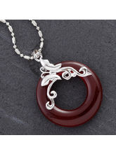 Red Agate Ring Silver Necklace