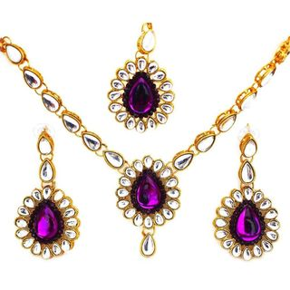 Purple And Kundan Stone Set