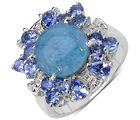 4.10CTW Genuine Opal & Tanzanite Sterling Silver Ring, 6 us