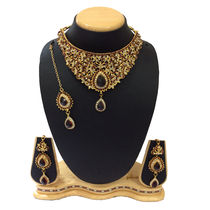 Shriya 18 Karat Gold Plated Bridal Necklace Set With Maang Tikka Necklace Set