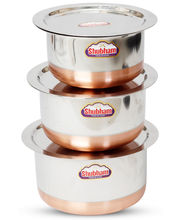 Shubham Copper Bottom Container / Tope with Lid-3 Pcs Set 1.2-2.1 Ltr S10-12, metallic