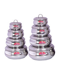 Aristo Steel Container 8 Pcs Sets 250ml-2000ml,  silver