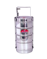 Aristo Lunch Box 4 Stainless Steel Containers Tiffin Set,  silver