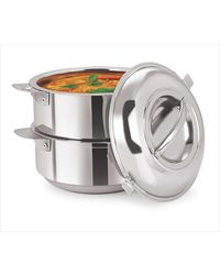 NanoNine Insulated Stackable Space-Saver Serving Pot (1500ml x 2) SS114,  silver