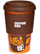 Cafe Coffee Day - Ceramic Mug With Lid - Spills Free, Brown