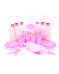 SKI Homeware 23 Pcs Fridge Mate Combo, pink
