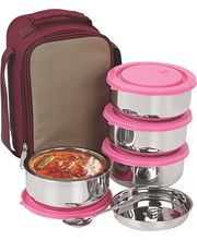 Nano 9 Insulated 4pc Executive Lunch with Pink Lid, multicolor