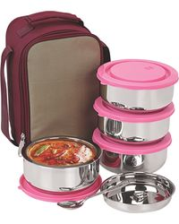 NanoNine Insulated 4pc Executive Lunch with Pink Lid, multicolor