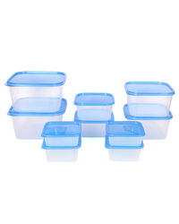 Gluman 10 Pcs Set of Plastic Kitchen Storage Container Box - Sigma Blue C2,  blue