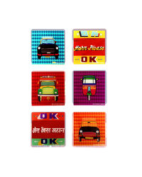 The Elephant Company New Transport 2 Acrylic Coasters Set of 6, blue