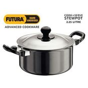 Hawkins Futura Hard Anodised Stewpot with Stainless Steel Lid,  black