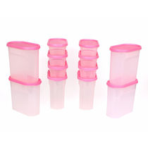 Gluman 12 Pcs Set of Modular Kitchen Storage Container Box - Mod Pink C6,  pink