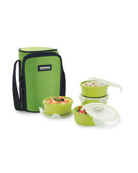 Smart Lock Sml-304 Airtight Tiffin Box With Insulated Bag Melamine 4 Pc Set,  green