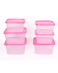 Gluman 6 Pcs Set of Plastic Kitchen Storage Container Box - Sigma Pink C4,  pink