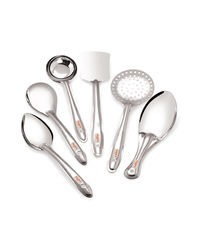 Roops Serving Spoon 6 pcs Set Plus Small,  silver