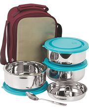 Nano 9 Insulated 3pc Senior Lunch Box with Blue Lid, multicolor
