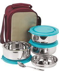 NanoNine Insulated 3pc Senior Lunch Box with Blue Lid, multicolor