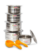 Hazel Designer Tope with Lid-Set of 5 with Free 5 Pc Scoop Set, silver