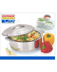 Omex Stainless steel 1600 ml Casserole Dia-18.9 Cm 1 Pc,  silver
