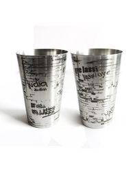 Hot Muggs Lassi da Gilaas Stainless Steel Glass 450ml, 2 Pc,  silver