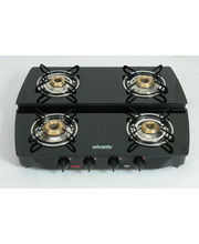 Advanta Premium Vetra Stepper (Black) 4 Burner Glass Top Gas Stove, Multicolor