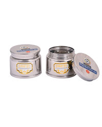 Paanjo Containers 300 ml Steel Lock Jar Set of 3, silver