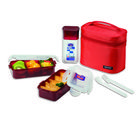 Lock and Lock Lunch Set With Red Bag HPL758DR, red
