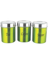 Zain Green 3 Pcs Green Finish Canister Set (Green)