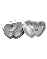 Rolex Aluminium Jelly CupCake Muffin Mould Double Heart Jelly Custard Pudding Mould SET OF 6, silver