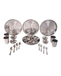 Hazel Stainless Steel Dinner Set 24 Pcs Designer Gift Set RT1,  silver