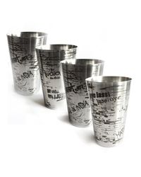 Hot Muggs Lassi da Gilaas Stainless Steel Glass 450ml, 4 Pc,  silver