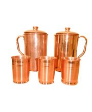 Tera India 2 Copper Jugs With Set Of 3 Copper Glasses, Brown