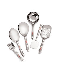 Roops Mini Serving Spoon 6 Pc Set,  silver