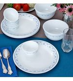 Corelle Essential Series Morning Blue Dinner Set Of 14 Pcs, multicolor