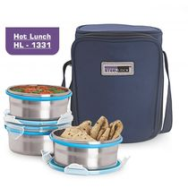 Steel Lock HL- 1331 Airtight 3 pc Lock Steel Lunch / Meal/Tiffin Box with Insulated Bag, multicolor