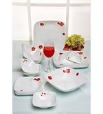 Corelle Square Round Resotta Dinner Set Of 21 Pcs, multicolor
