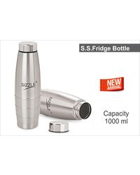 Sizzle Fridge Water Bottle 1000 ml 2 Pc Set,  silver