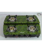 Advanta Premium Vetra Stepper (Mint) 4 Burner Glass Top Gas Stove With Automatic Ignition, Multicolor