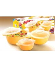 Nayasa Microwave Microfresh Cooking Containers 3 Pcs Gift Set, Multicolor