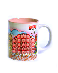 Indiavibes Coffee Tea Jaipur Theme Printed Ceramic Mug, multicolor