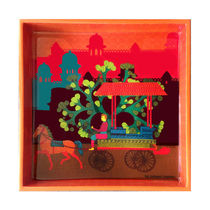 The Elephant Company Gond Art Village Square Tray,  orange