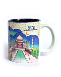 Indiavibes Coffee Tea Agra Theme Printed Ceramic Mug, multicolor