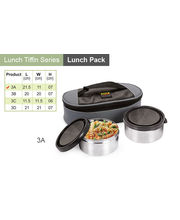 Sizzle Executive Lunch Box Container Set of 2 3A, multicolor