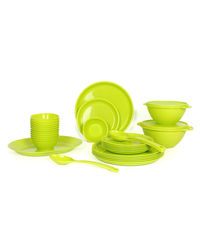 Gluman Microwave Safe Dinner Set - 32 Pcs Round Green,  green