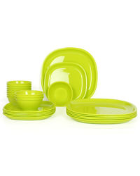 Gluman Microwave Safe Dinner Set - 24 Pcs Square Green,  green