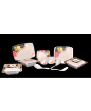 Geeta Diamond Square 44 Pcs Melamine Dinner Set LE-GDS-004, Multicolor