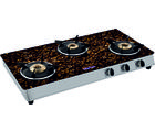 Surya Flame Italiano Coffee Beans 3 Burner Gas Cooktop, multicolor