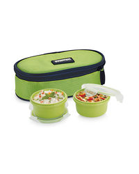 Smart Lock Sml-202 Airtight Tiffin Box With Insulated Bag Melamine 2 Pc Set,  green