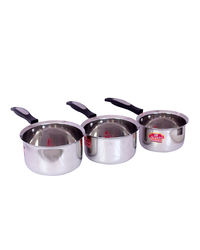 Aristo Milk Sauce Pan Flat Bottom 3 Pc Set 1 to 1.6 Litres, silver