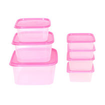 Gluman 7 Pcs Set of Plastic Kitchen Storage Container Box - Sigma Pink C1,  pink